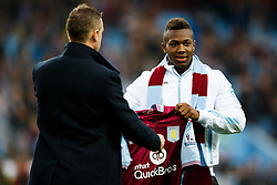 New Signing Adama Traore of Aston Villa is introduced to the home fans before the game - Mandatory byline: Rogan Thomson/JMP - 07966 386802 - 14/08/2015 - FOOTBALL - Villa Park Stadium - Birmingham, England - Aston Villa v Manchester United - Barclays Premier League.