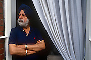 A portrait of Indian writer, Patwant Singh in the summer of 1994 while at an address in London, England. Singh (1925 - 2009) was one of India's leading writers on international and cultural affairs and the environment. His articles appeared in The New York Times, Canada's Globe and Mail, the UK's Independent, and elsewhere. He is author of The Sikhs (John Murray, 1999 and Knopf, 2000).
