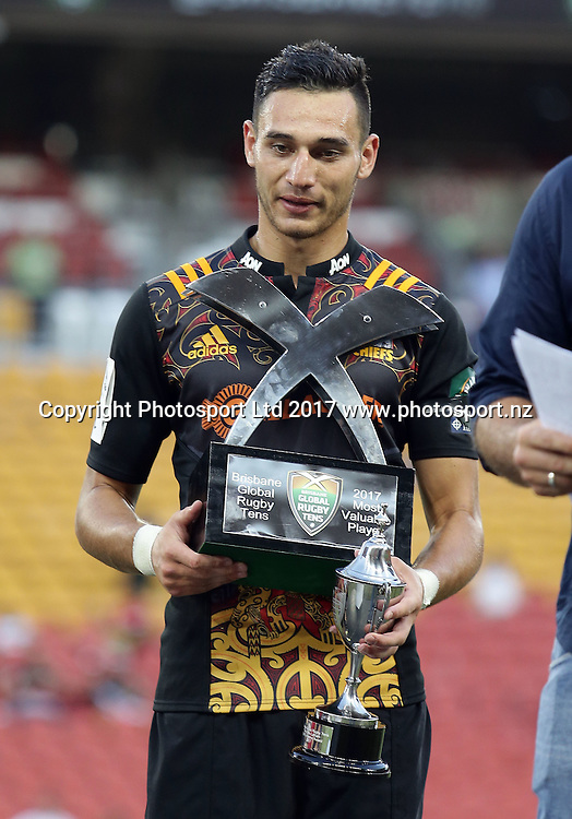Shaun Stevenson of the Chiefs won the MVP award of the tournament after the final match between the Chiefs and the Crusaders during day 2 of the Brisbane Global Rugby Tens at Suncorp Stadium, Brisbane, Australia. Sunday 12 February 2017.  © copyright photo: Tertius Pickard / www.photosport.nz