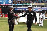 Umpires Rod Tucker and Bruce Oxenford shake hands as they walk out during match 16 of the Karbonn Smart Champions League T20 (CLT20) 2013  between The Titans and Trinidad and Tobago held at the Sardar Patel Stadium, Ahmedabad on the 30th September 2013<br /> <br /> Photo by Shaun Roy-CLT20-SPORTZPICS  <br /> <br /> Use of this image is subject to the terms and conditions as outlined by the CLT20. These terms can be found by following this link:<br /> <br /> http://sportzpics.photoshelter.com/image/I0000NmDchxxGVv4