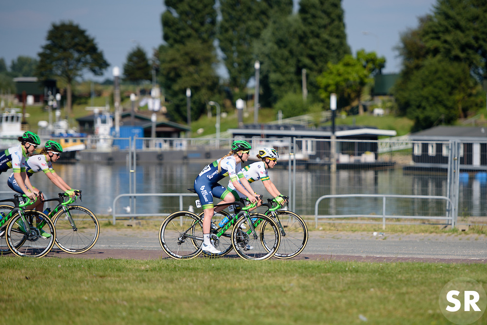 Orica AIS ride to the start in Tiel ahead of the 103 km Stage 1 of the Boels Ladies Tour 2016 on 30th August 2016 in Tiel, Netherlands. (Photo by Sean Robinson/Velofocus).