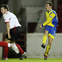Clyde v St Johnstone....29.12.07 <br /> Kevin Moon fires in a shot to make it 3-1<br /> Picture by Graeme Hart.<br /> Copyright Perthshire Picture Agency<br /> Tel: 01738 623350  Mobile: 07990 594431