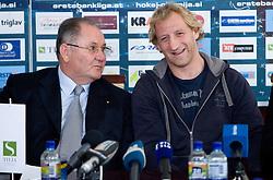 Ernest Aljancic and Tomaz Vnuk at the press conference due to the end of the career of Slovenian ice-hockey player Tomaz Vnuk,  on October 05, 2009, in Hala Tivoli, Ljubljana, Slovenia.   (Photo by Vid Ponikvar / Sportida)