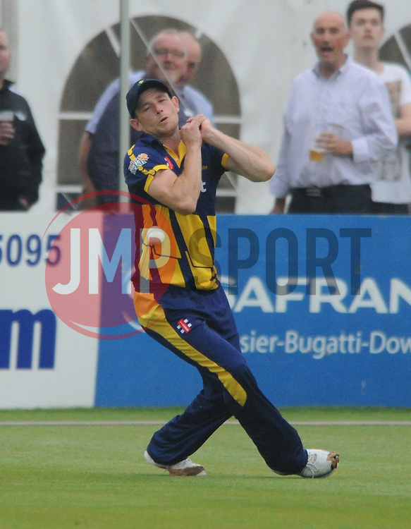 Graham Wagg of Glamorgan drops the ball - Photo mandatory by-line: Dougie Allward/JMP - Mobile: 07966 386802 - 12/06/2015 - SPORT - Cricket - Bristol - County Ground - Gloucestershire v Glamorgan - Natwest T20 Blast