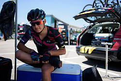 Barbara Guarischi does some final stretches before Stage 4 of the Giro Rosa - a 118 km road race, starting and finishing in Occhiobello on July 3, 2017, in Rovigo, Italy. (Photo by Sean Robinson/Velofocus.com)