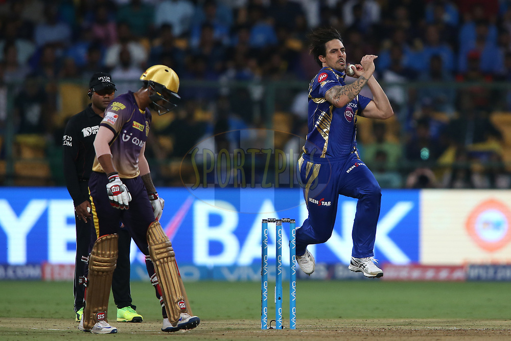 Mitchell Johnson of the Mumbai Indians sends down a delivery during the 2nd qualifier match of the Vivo 2017 Indian Premier League between the Mumbai Indians and the Kolkata Knight Riders held at the M.Chinnaswamy Stadium in Bangalore, India on the 19th May 2017<br /> <br /> Photo by Shaun Roy - Sportzpics - IPL