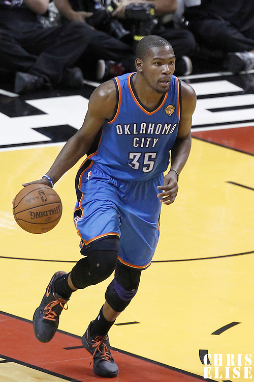 17 June 2012: Oklahoma City Thunder small forward Kevin Durant (35) brings the ball upcourt during the Miami Heat 91-85 victory over the Oklahoma City Thunder, in Game 3 of the 2012 NBA Finals, at the AmericanAirlinesArena, Miami, Florida, USA.