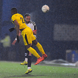 TELFORD COPYRIGHT MIKE SHERIDAN 5/3/2019 - Brendon Daniels of AFC Telford battles for a header with Luke Trotman of Darlington during the National League North fixture between AFC Telford United and Darlington at the New Bucks Head Stadium