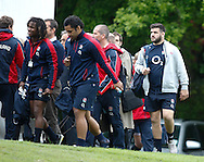 Picture by Andrew Tobin/Tobinators Ltd +44 7710 761829.24/05/2013.England captain Rob Webber (R) arrives for the England training session at Pennyhill Park, Bagshot ahead of the match against the Barbarians on 26th May 2013.