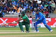 Mohammad Saifuddin of Bangladesh plays a sweep shot for four runs during the ICC Cricket World Cup 2019 match between Bangladesh and India at Edgbaston, Birmingham, United Kingdom on 2 July 2019.