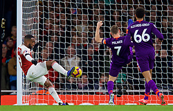 LONDON, ENGLAND - Saturday, November 3, 2018: Arsenal's Alexandre Lacazette scores a goal but it was disallowed for off-side during the FA Premier League match between Arsenal FC and Liverpool FC at Emirates Stadium. (Pic by David Rawcliffe/Propaganda)