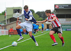 Barrow's Richard Bennett shields the ball from Lincoln City's Alex Woodyard<br /> <br /> Picture: Chris Vaughan/Chris Vaughan Photography<br /> <br /> Football - Vanarama National League - Lincoln City Vs Barrow - Saturday 17th September 2016 - Sincil Bank - Lincoln<br /> <br /> Copyright © 2016 Chris Vaughan Photography. All rights reserved. Unit 11, Churchill Business Park, Bracebridge Heath, Lincoln, LN4 2FF - Telephone: 07764170783 - info@chrisvaughanphotography.co.uk - www.chrisvaughanphotography.co.uk