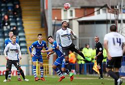 Tom Soares of Bury wins a header  - Mandatory byline: Matt McNulty/JMP - 06/12/2015 - Football - Spotland Stadium - Rochdale, England - Rochdale v Bury - FA Cup