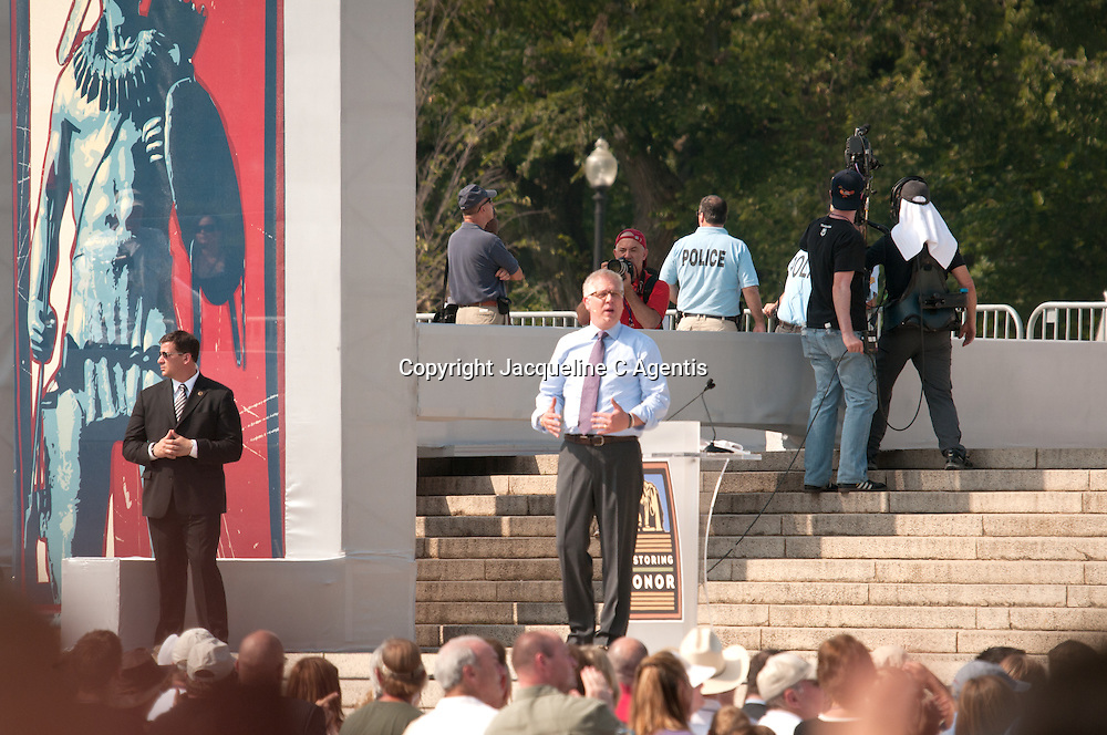 "Washington DC Glen Beck Rally Restoring Honor on the steps of the Lincoln Memorial on the anniversary of the Martin Luther King's ""I Have A Dream"" speech"