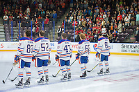 PENTICTON, CANADA - SEPTEMBER 17: Matt Benning #83, Patrick Russell #52, Joey Benik #47, Chad Butcher #65 and Caleb Jones #81 of Edmonton Oilers line up against the Calgary Flames on September 17, 2016 at the South Okanagan Event Centre in Penticton, British Columbia, Canada.  (Photo by Marissa Baecker/Shoot the Breeze)  *** Local Caption ***  Matt Benning; Patrick Russell;Joey Benik; Chad Butcher; Caleb Jones;