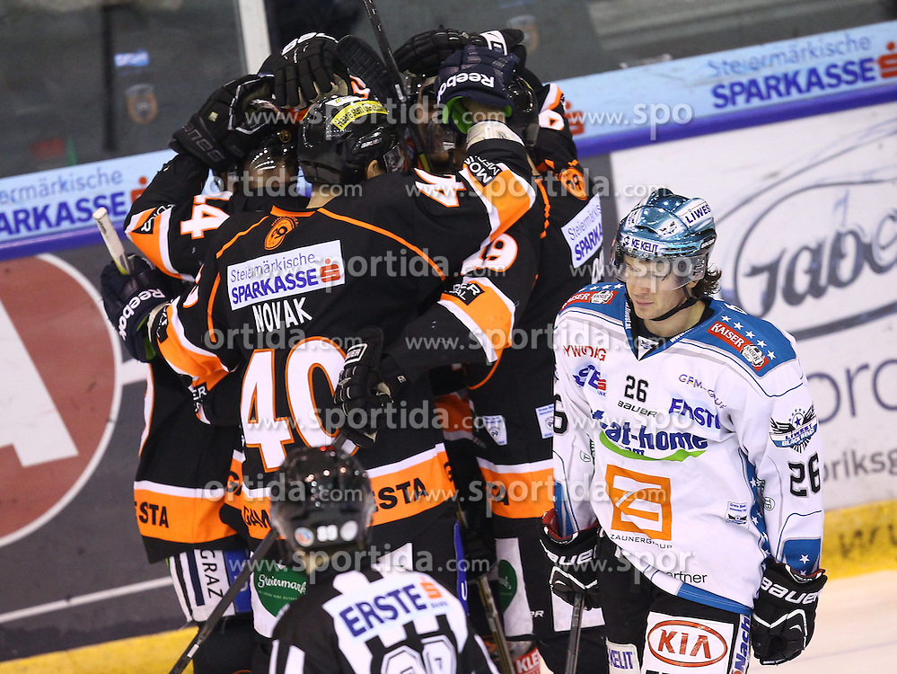 22.01.2013, Eisstadion Liebenau, Graz, AUT, EBEL, Graz 99ers vs EHC Black Wings Linz, Platzierungsrunde, im Bild Jubel nach dem 1 zu 0 durch Mario Scalzo (99ers, #79) // during the Erste Bank Icehockey League placement Round match betweeen Graz 99ers and EHC Black Wings Linz at the Icehockey Stadium Liebenau, Graz, Austria on 2013/01/22. EXPA Pictures © 2013, PhotoCredit: EXPA/ Patrick Leuk