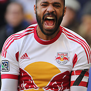 Thierry Henry, New York Red Bulls, reacts in frustration after being called for a foul on Jermaine Jones during his side 2-1 loss during the New York Red Bulls Vs New England Revolution, MLS Eastern Conference Final, first leg at Red Bull Arena, Harrison, New Jersey. USA. 23rd November 2014. Photo Tim Clayton