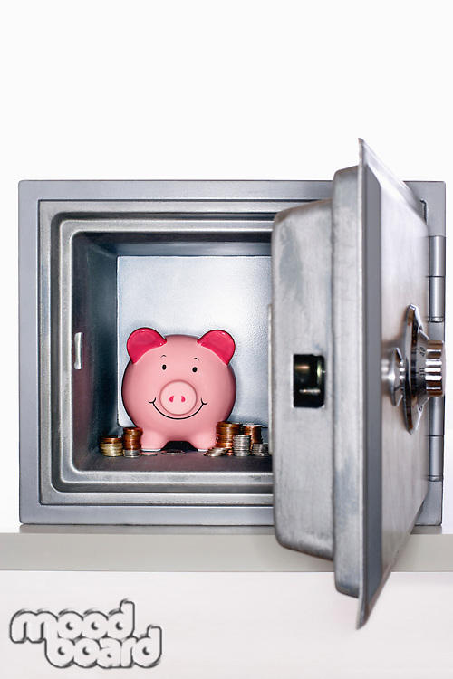 Piggy bank and piles of coins in open safe
