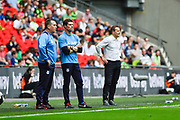 Forest Green Rovers manager, Mark Cooper on the touch line during the Vanarama National League Play Off Final match between Tranmere Rovers and Forest Green Rovers at Wembley Stadium, London, England on 14 May 2017. Photo by Adam Rivers.