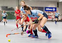 HAMBURG  (Ger) - Match 20,  for FINAL, LMHC Laren - Dinamo Elektrostal (Rus) (3-1).  Photo: Maxime Kerstholt (Laren) with Varvara Makeeva (Elektr.).  Eurohockey Indoor Club Cup 2019 Women . WORLDSPORTPICS COPYRIGHT  KOEN SUYK