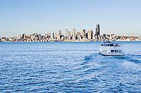 The West Seattle Water Taxi leaving for downtown Seattle on Elliott Bay, USA.