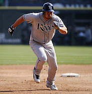 CHICAGO - APRIL 09:  Johnny Damon #22 of the Tampa Bay Rays runs the bases against the Chicago White Sox on April 09, 2011 at U.S. Cellular Field in Chicago, Illinois.  The White Sox defeated the Rays 4-2.  (Photo by Ron Vesely) Subject: Johnny Damon
