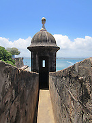 Garita guard tower on the City Wall overlooking San Juan Bay in Old San Juan, Puerto Rico. Symbol of Puerto Rico!
