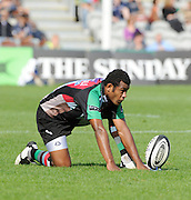 Twickenham, GREAT BRITAIN, Quins, Waisea LUVENIYALI, lines up the ball for a second kick, during the Guinness Premiership match,  Harlequins vs Bristol Rugby, at The Stoop Stadium, Surrey on Sat 13.09.2008. [Photo, Peter Spurrier/Intersport-images]