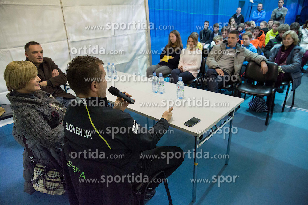 Bojana Kavcic and prof dr. Matej Tusak at lecture for kids and parents prior to the 3rd match of Davis cup Slovenia vs. Portugal on February 1, 2014 in Kranj, Slovenia. Photo by Vid Ponikvar / Sportida