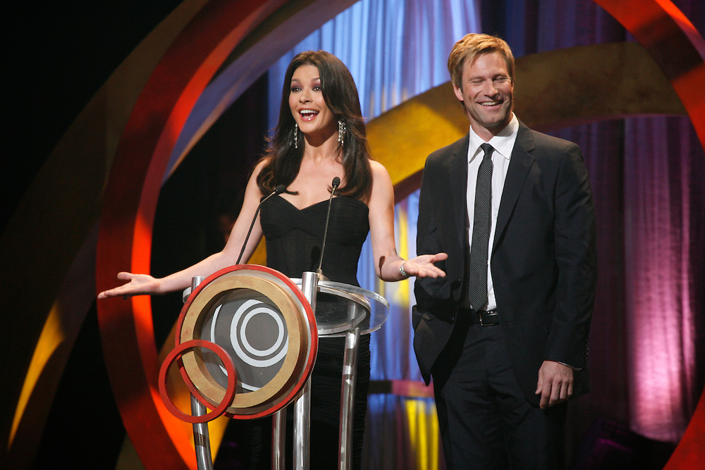 Catherine Zeta-Jones and co-star Aaron Eckhart of &quot;No Reservation&quot; arrive at the First Food Network Awards Show at the Jackie Gleason Theater  of the Performing Arts, in Miami, FL on  Feb 23, 2007.  (Photo/Lance Cheung) <br /> PHOTO COPYRIGHT 2007 LANCE CHEUNG<br /> This photograph is NOT within the public domain.<br /> This photograph is not to be downloaded, stored, manipulated, printed or distributed with out the written permission from the photographer. <br /> This photograph is protected under domestic and international laws.