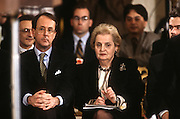 US Secretary of State Madeleine Albright with chief of staff Erskine Bowles listen during a joint press conference February 13, 1997 with President Bill Clinton and Israeli Prime Minister Benjamin Netanyahu in Washington, DC.