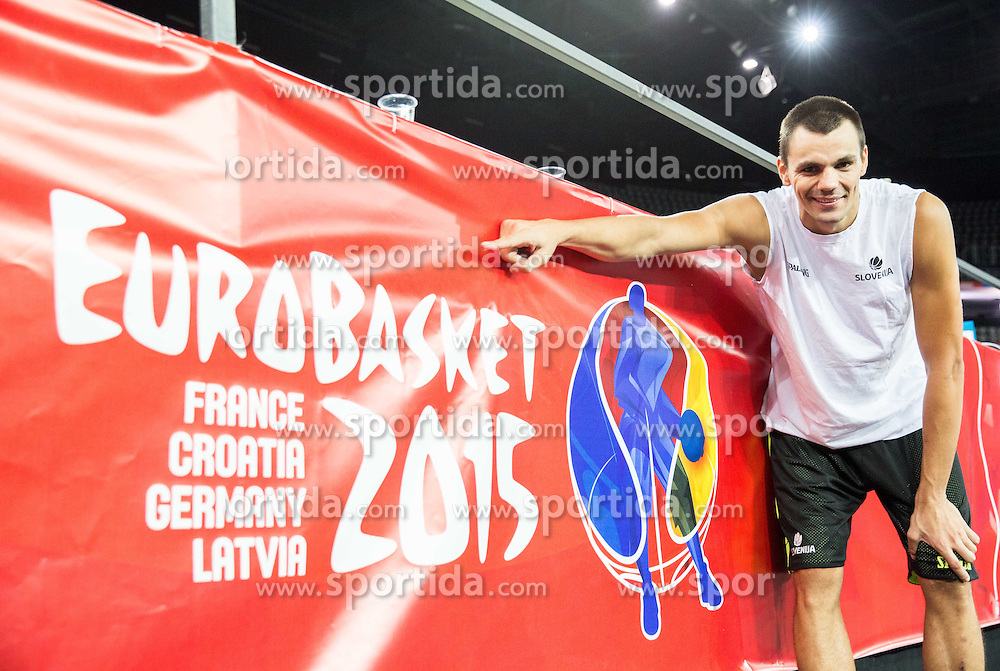 Jure Balzic during practice session of Slovenia National Basketball Team 1 day prior to the FIBA Europe Eurobasket 2015, on September 4, 2015, in Arena Zagreb, Croatia. Photo by Vid Ponikvar / Sportida