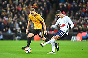 Tottenham Hotspur Midfielder Erik Lamela (11) and Newport County Defender Mickey Demetriou (28) battle for the ball during the The FA Cup 4th round replay match between Tottenham Hotspur and Newport County at Wembley Stadium, London, England on 7 February 2018. Picture by Stephen Wright.