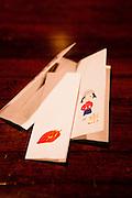 Hand painted tooth-pick envelopes at Kahala restaurant.