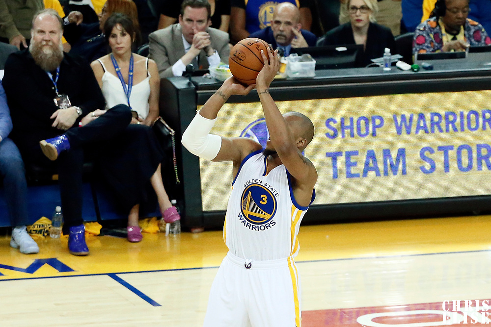 12 June 2017: Golden State Warriors forward David West (3) takes a jump shot during the Golden State Warriors 129-120 victory over the Cleveland Cavaliers, in game 5 of the 2017 NBA Finals, at the Oracle Arena, Oakland, California, USA.