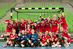 Team Czech Republic after handball match between Women National Teams of Slovenia and Czech Republic of 4th Round of EURO 2012 Qualifications, on March 25, 2012, in Arena Stozice, Ljubljana, Slovenia. (Photo by Urban Urbanc / Sportida.com)