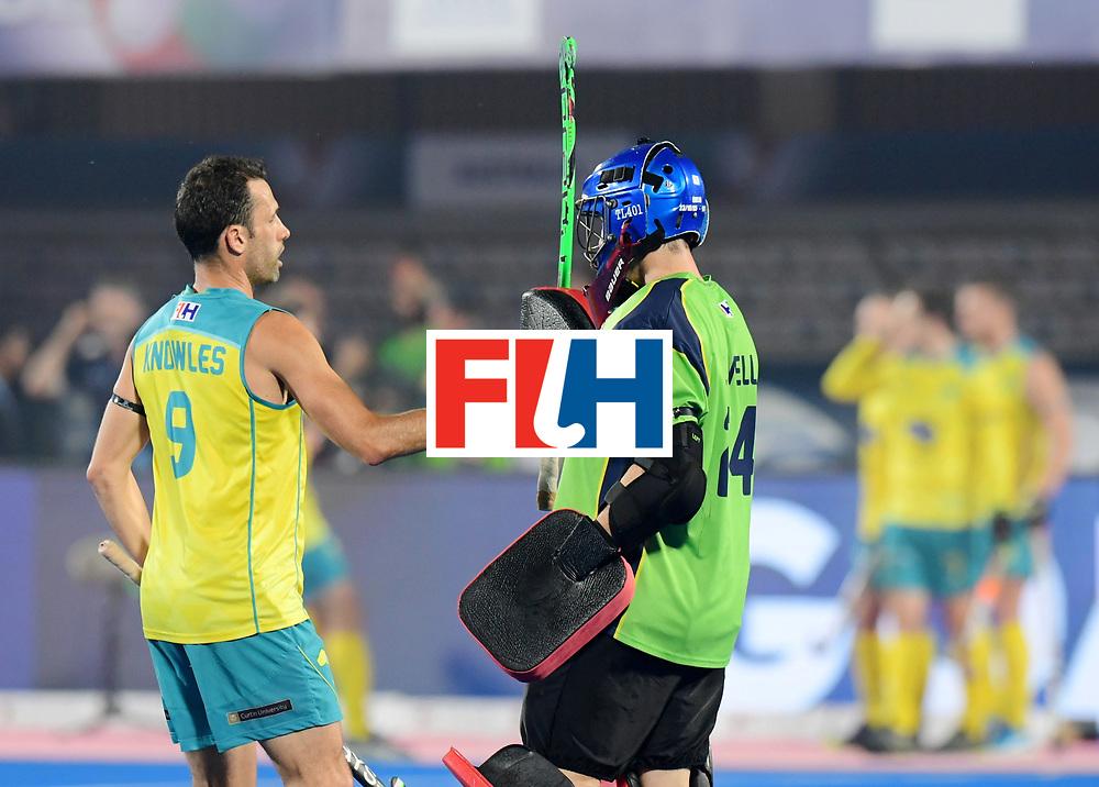 Odisha Men's Hockey World League Final Bhubaneswar 2017<br /> Match id:15<br /> Spain v Australia<br /> Foto: Mark Knowles (Aus) and keeper Tyler Lovell (Aus) <br /> COPYRIGHT WORLDSPORTPICS FRANK UIJLENBROEK