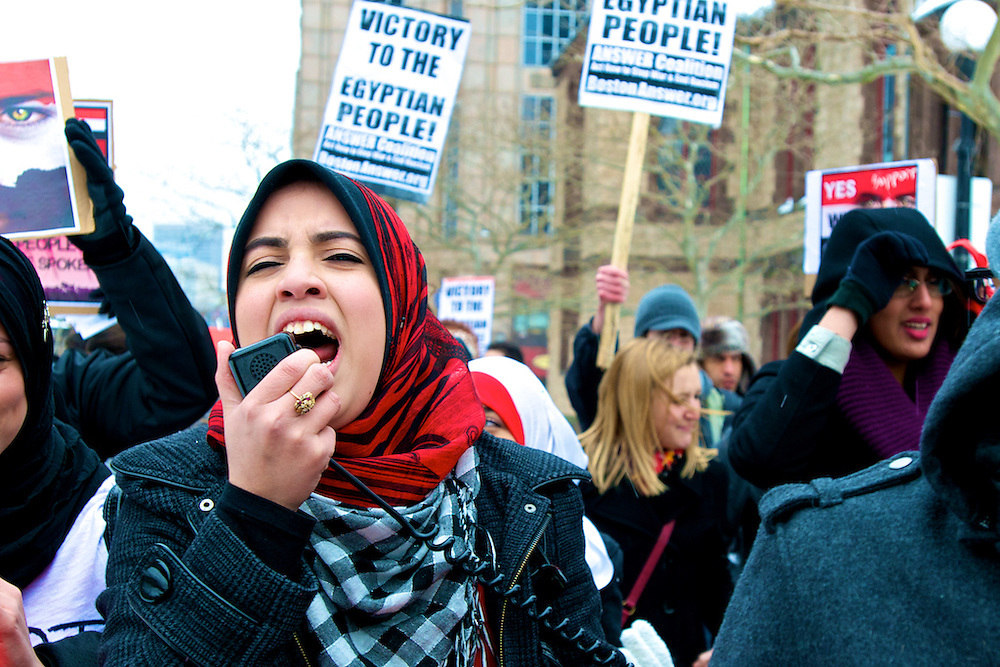 February 5, 2011 - A protestor leads a chant during a demonstration on Saturday in Copley Square in Boston. Hundreds of people attended the protest in support of the Egyptian people who began protesting the government last month. Photo by Lathan Goumas.