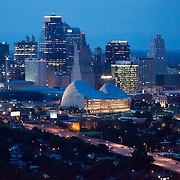 Aerial view of downtown Kansas City, MO skyline at dusk.