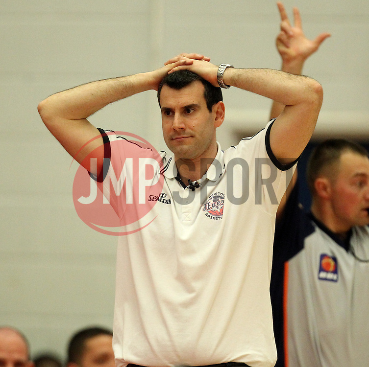 Bristol Flyers head coach, Andreas Kapoulas puts his hands on his head - Photo mandatory by-line: Robbie Stephenson/JMP - Mobile: 07966 386802 - 18/04/2015 - SPORT - Basketball - Bristol - SGS Wise Campus - Bristol Flyers v Leeds Force - British Basketball League