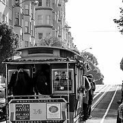 Woman riding the Trolley in Hyde street.