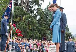 The Duke and Duchess of Cambridge attend a wreath-laying and Commemoration ceremony at the War Memorial in Seymour Square, Blenheim, New Zealand, after laying the wreath they went on a walk about in the square to meet the locals on day 4 of their Royal Tour of New Zealand and Australia, Thursday, 10th April 2014. Picture by  i-Images