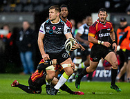 Olly Cracknell of Ospreys looks to offload<br /> <br /> Photographer Simon King/Replay Images<br /> <br /> Guinness PRO14 Round 6 - Ospreys v Southern Kings - Saturday 9th November 2019 - Liberty Stadium - Swansea<br /> <br /> World Copyright © Replay Images . All rights reserved. info@replayimages.co.uk - http://replayimages.co.uk