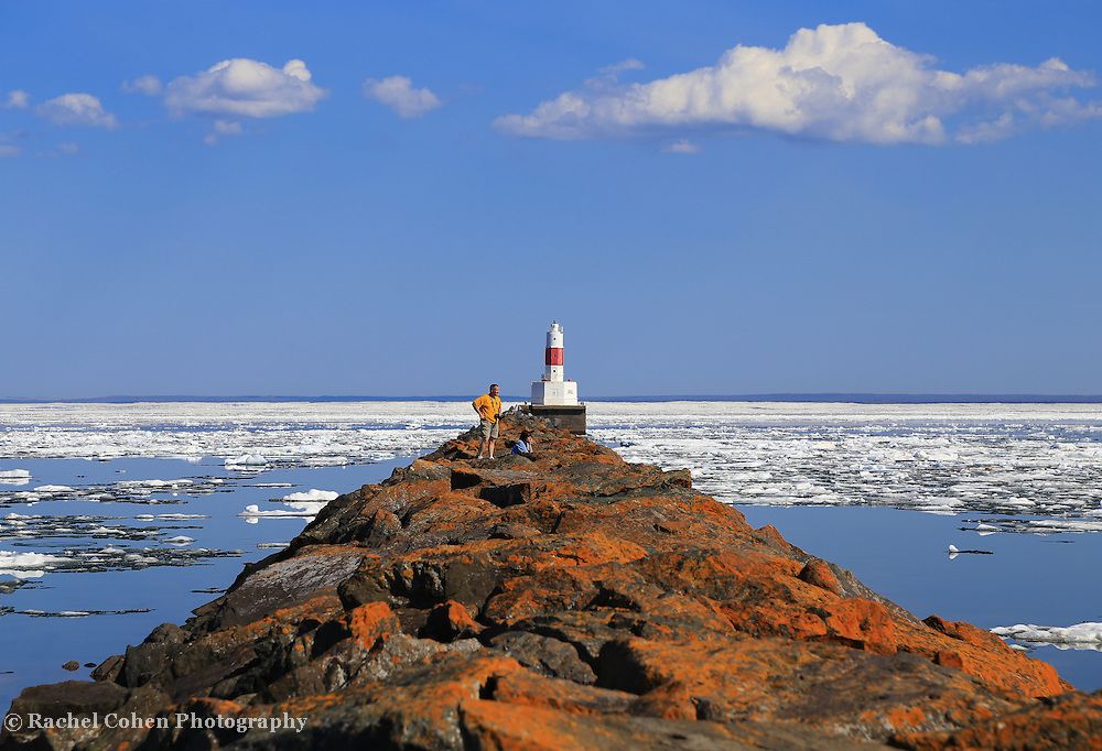 &quot;Spring on Ice&quot;<br /> <br /> Scenic Marquette Michigan on a beautiful late spring day with icebergs still afloat on Lake Superior at Presque Isle Harbor!