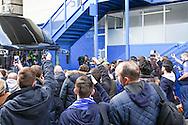 Fans greet Everton players before the Barclays Premier League match at Stamford Bridge, London<br /> Picture by David Horn/Focus Images Ltd +44 7545 970036<br /> 22/02/2014
