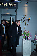 SIR BRYAN FERRY, Nicky Haslam hosts dinner at  Gigi's for Leslie Caron. 22 Woodstock St. London. W1C 2AR. 25 March 2015