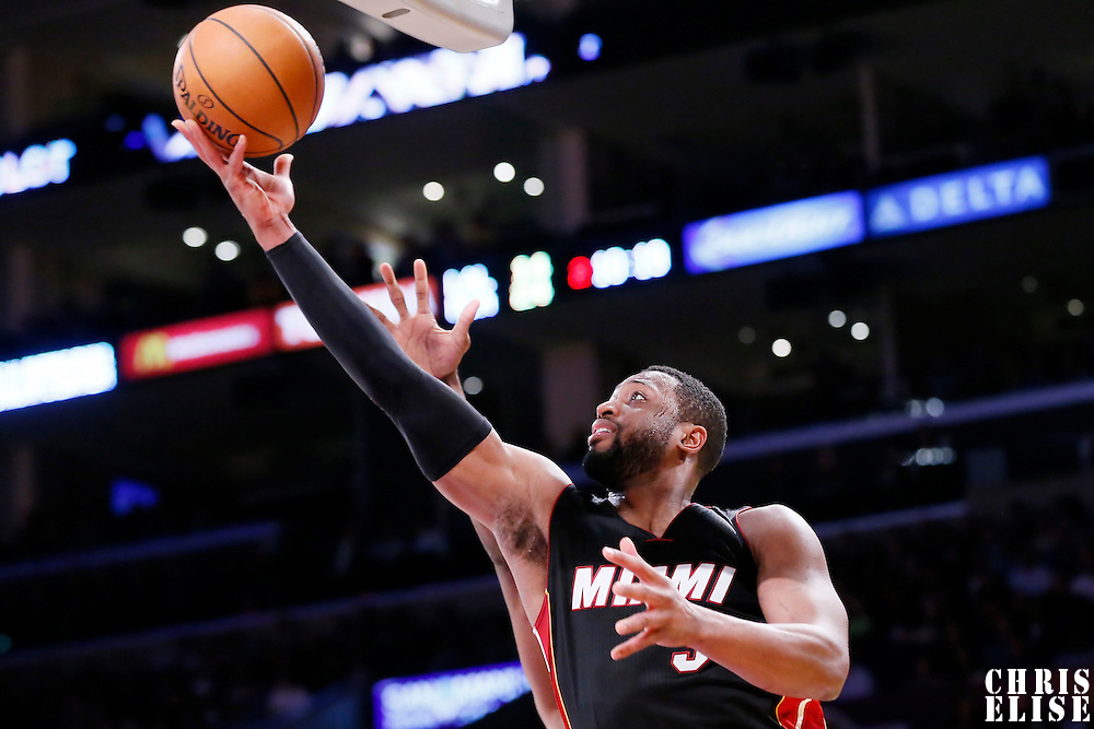 13 January 2014: Miami Heat guard Dwyane Wade (3) goes for the layup during the Miami Heat 78-75 victory over the Los Angeles Lakers, at the Staples Center, Los Angeles, California, USA.