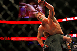 April 19, 2008; Montreal, Quebec, CAN;  Mac Danzig celebrates his victory over Mark Bocek after their lightweight bout at the Bell Centre in Montreal, Canda at UFC 83.  Danzig won via strikes in the 3rd round.