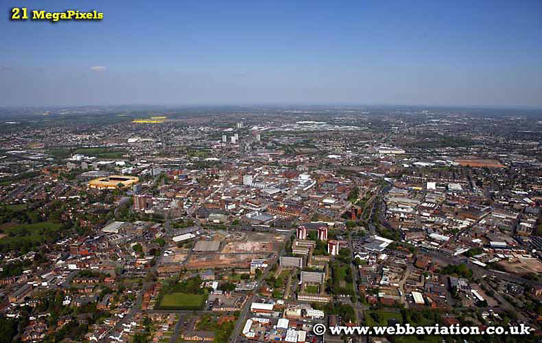 aerial photograph of Wolverhampton West Midlands UK