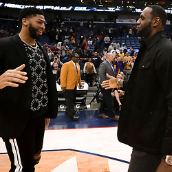 Mar 31, 2019; New Orleans, LA, USA; New Orleans Pelicans forward Anthony Davis meets with Los Angeles Lakers forward LeBron James following a game at the Smoothie King Center. Mandatory Credit: Derick E. Hingle-USA TODAY Sports